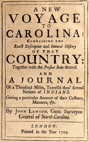 John Lawson (explorer) - Cover of John Lawson's 1709 book