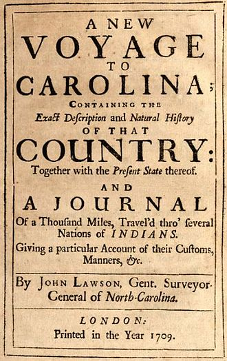 John Lawson (explorer) - Cover of John Lawson's 1709 book