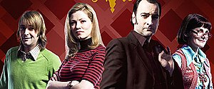 Mayo (TV series) - The main cast of Mayo, from left to right: Huw Rhys as Martin Kite, Jessica Oyelowo as Alex Jones, Alistair McGowan as Gil Mayo, and Louise Brealey as Harriet 'Anorak' Tate