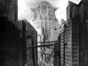 A screenshot from the film Metropolis (1927).