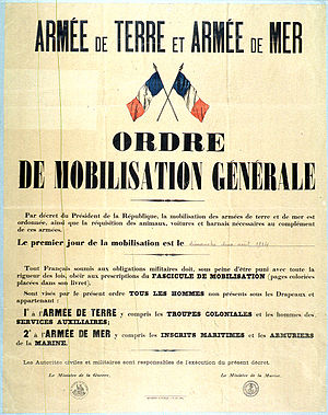 Grand Quartier Général (1914–1919) - A French poster declaring general mobilisation, published 2 August 1914