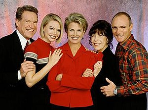 Murphy Brown - The cast of Murphy Brown for its final two seasons. Lily Tomlin is pictured fourth.