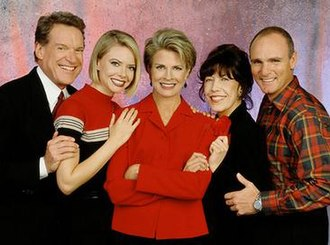 Murphy Brown - The cast of Murphy Brown for its final two seasons. Lily Tomlin is pictured fourth from the left.