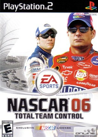 NASCAR 06: Total Team Control - North American game cover art featuring Jimmie Johnson and Jeff Gordon
