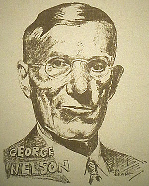 George A. Nelson - George A. Nelson as he was drawn in the Socialist press during the 1936 campaign.