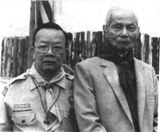 Vietnamese Scout Association - Trần Văn Khắc (right), founder of the Vietnamese Scouting Association, and Dr. Nguyễn Văn Thơ, former head of HĐVN, at the 2nd International Vietnamese Scouting Jamboree held in Toronto (1988)