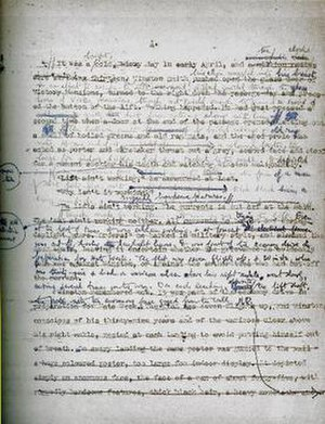 Nineteen Eighty-Four - A 1947 draft manuscript of the first page of Nineteen Eighty-Four, showing the editorial development.