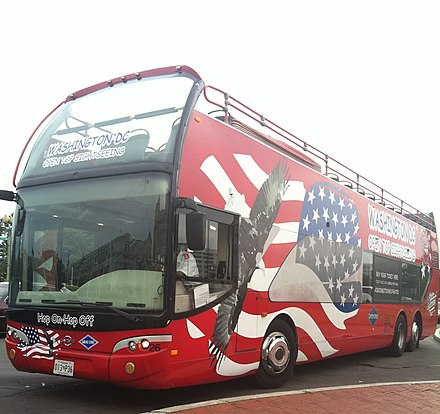 An open top double decker bus is used worldwide to provide sightseeing tours, such as this one in Washington, D. C., USA