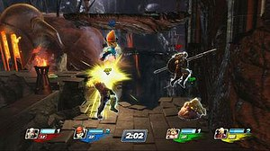 "PlayStation All-Stars Battle Royale - Pre-release gameplay from the ""Hades"" stage featuring the characters from left to right, Sweet Tooth, PaRappa, Kratos, and Fat Princess."