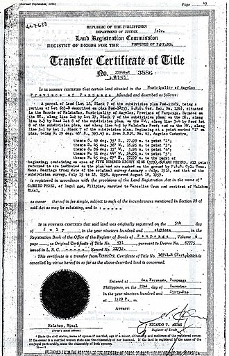 Bangko Sentral ng Pilipinas - Image: Philippine land title