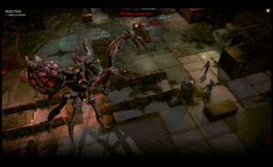 Screenshot of the prototype tactical mission showing two Phoenix Point soldiers facing off against a giant boss monster, the Crab Queen.