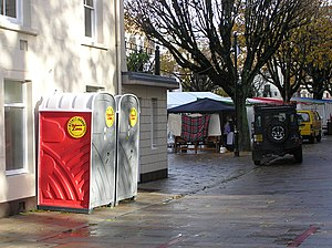 Chemical toilet - Portable toilets at a public event in Jersey