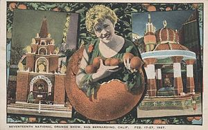 National Orange Show - Postcard advertising the 17th show in 1927