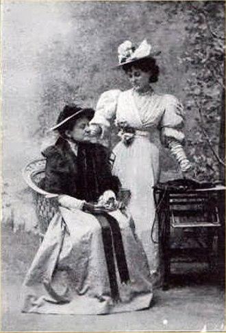 The Importance of Being Earnest - Mrs George Canninge as Miss Prism and Evelyn Millard as Cecily Cardew in the first production
