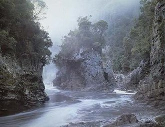 Franklin Dam controversy - The photograph Morning Mist, Rock Island Bend, Franklin River, by Peter Dombrovskis was used by the Tasmanian Wilderness Society in advertising against the dam's construction