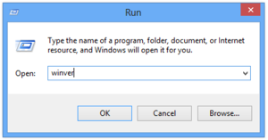 "Run command - Run dialog box in Windows 8, with the ""winver"" command as input."