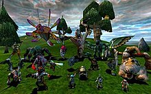 Various creatures, large and small, stand on the slope of a hill. Some of them are humanoid, others are bird-like or insectoid. Several wispy clouds float in the blue sky.