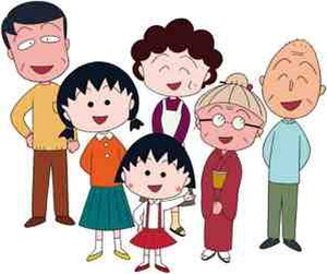 Chibi Maruko-chan - Back row, from left: Hiroshi, Sumire, and Tomozo; middle row, from left: Sakiko and Kotake; and front row: Momoko (a.k.a. Maruko)