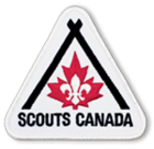 The Scout fleur-de-lis and the maple leaf of the flag of Canada with two sticks to create a stylized tent or campfire in a stylized badge