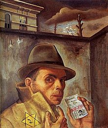 Self Portrait with Jewish Identity Card -Felix Nussbaum - 1943.jpg