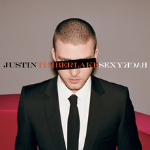"A young man with a buzz cut, wears a two-piece black suit, with a white shirt and black tie. A black horizontal rectangle covers his left eye, while his right blue eye can be seen. In capitals, ""Justin"", ""Timberlake"", and ""SexyBack"" is written in black, orange, and white font, respectively. The word ""Back"" is spelled backwards."