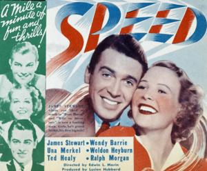 Speed (1936 film) - 1936 movie herald, Tagline: Romance at 300 miles per hour!