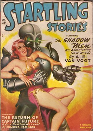 Captain Future - Iconic Captain Future cover from Startling Stories January 1950, painted by Earle K. Bergey.