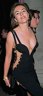 Black Versace dress of Elizabeth Hurley dress worn by Elizabetrh Hurley to the premiere of Four Weddings and a Funeral in 1994