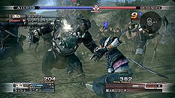 A group of people and monsters in light armor fight, with a black-haired young man facing away closest to the viewer. Gauges and boxes filled with text and numbers ring the perimeter of the image.