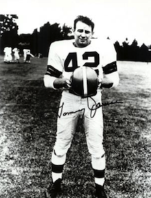 James pictured in a Cleveland Browns uniform in a publicity shot
