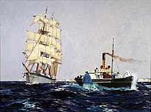 An oil painting of a multiple masted sailing vessel casting off from being towed by a steam-powered paddle tug