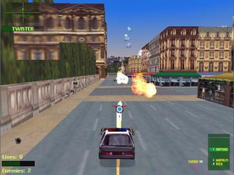 Twisted Metal 2 - A screenshot showing Outlaw 2 targeting Twister