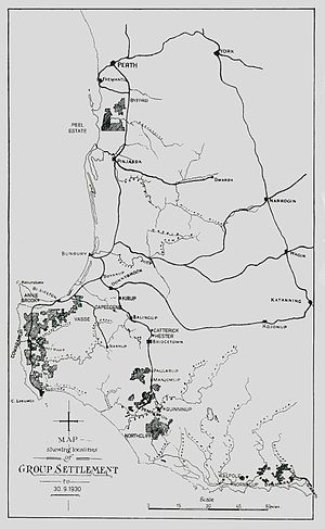 Group Settlement Scheme - 1930s map showing Group Settlement Scheme localities