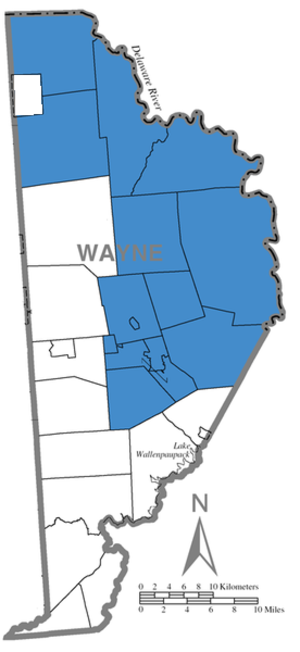 Wayne Highlands School District - Map of Wayne County with the highlighted boroughs and townships served by WHSD