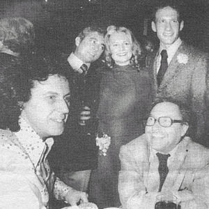 "Robert Patrick (playwright) - Patrick with Tennessee Williams and, standing, Don Parker, Shirley Knight, and Michael Sacks, Sardi's, opening night of ""Kennedy's Children,"" Nov. 3, 1975."