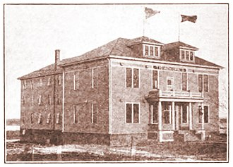 Work People's College - Work People's College as it appeared in 1913. Note the parallel American and red flags flying over the building.