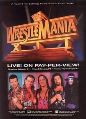 WrestleMania XII - Promotional poster featuring Razor Ramon (who did not work on the card due to suspension), Shawn Michaels, Bret Hart, Diesel and The Undertaker