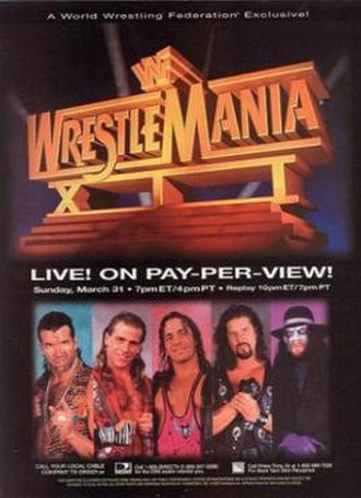 WrestleMania XII - Promotional poster featuring Razor Ramon, Shawn Michaels, Bret Hart, Diesel and The Undertaker