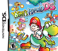 Various Yoshis appear with the playable babies of the game on an island setting. On the front is Green Yoshi with Baby Mario on his saddle.