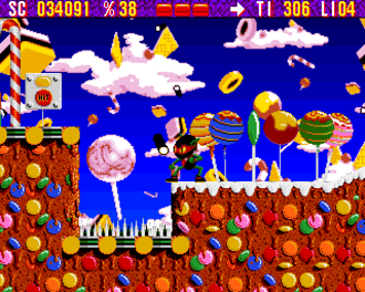 In-game advertising - Chupa Chups products can be seen in the background of Zool.