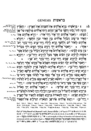 Biblia Hebraica Stuttgartensia - A sample page from Biblia Hebraica Stuttgartensia (Genesis 1,1-16a).