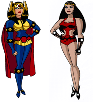 Big Barda - Big Barda in the Superman: The Animated Series and Justice League Unlimited (left) and  Batman Beyond (right).