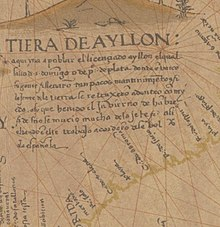 Detail Ayllon Map of Diego Ribero 1539.jpg