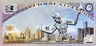 The Spirit of Detroit - Detroit Community Scrip, 3 Cheers