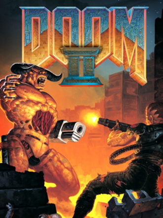 Doom II - The cover artwork for Doom II, painted by fantasy artist Gerald Brom, depicts the Doom space marine firing a shotgun at a Cyberdemon.