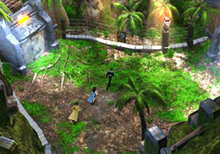 An overhead shot of three figures running through a jungle-like setting; a metal door and wire fences are visible above them.