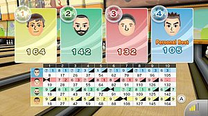 Wii Sports Club - The final scoreboard from an online game of Wii Sports Club bowling