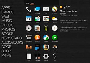 Fire Phone - An example of the three-panel design on the home screen of the Fire Phone: The navigation menu on the left, the app menu in the center, and the notification panel on the right.