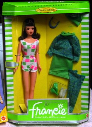 "Francie (Barbie) - Mattel limited edition reproduction of 1966 Francie doll and ""Gad-Abouts"" outfit"