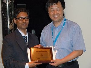 B. S. Daya Sagar - Sagar receiving the Georges Matheron Lectureship Award-2011 of International Association for Mathematical Geosciences from Qiuming Cheng in Salzburg, Austria on September 7, 2011
